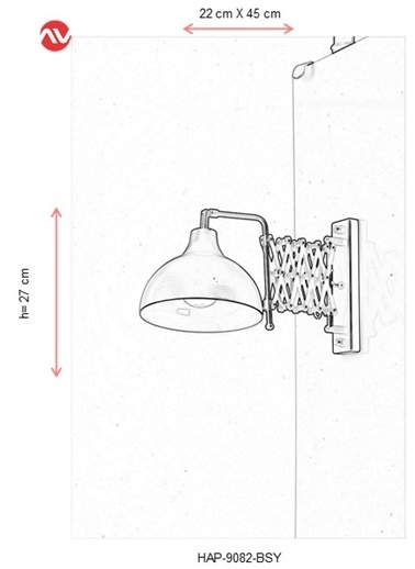 Avonni  HAP-9082-BSY Siyah Boyalı Aplik E27 Metal 22x45cm Siyah